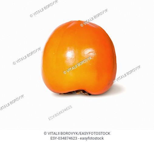 Single Fresh Ripe Orange Persimmon Isolated On White Background