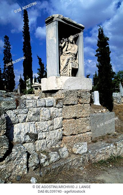 Funerary stele of sisters Demetria and Pamphile, 325-310 BC, Kerameikos, Athens, Greece. Greek civilisation, 4th century BC