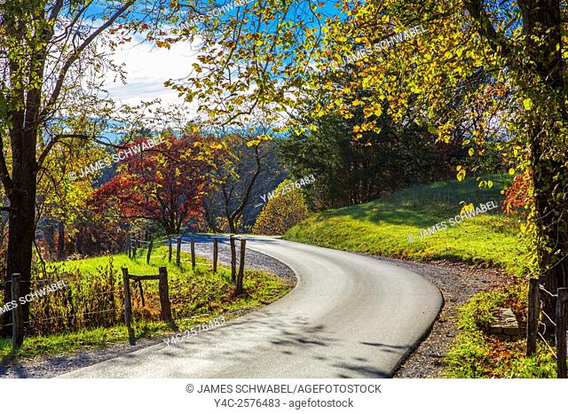 Cades Cove Road in Great Smoky Mountains National Park Tennessee