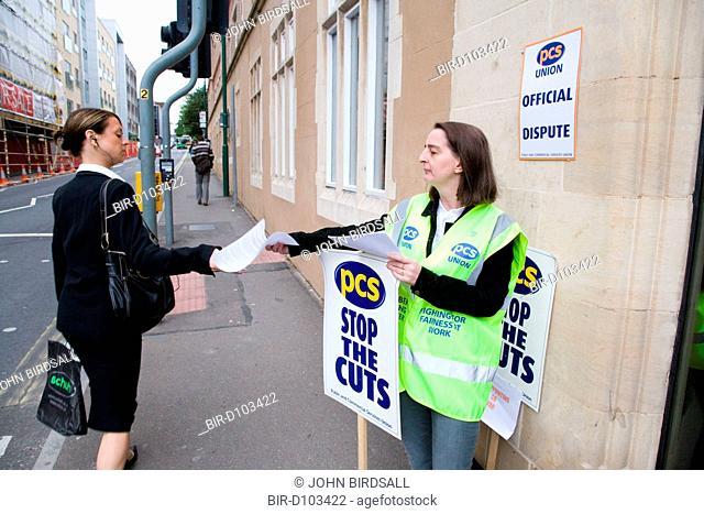 Union member demonstrating during strike action in Nottingham City Centre