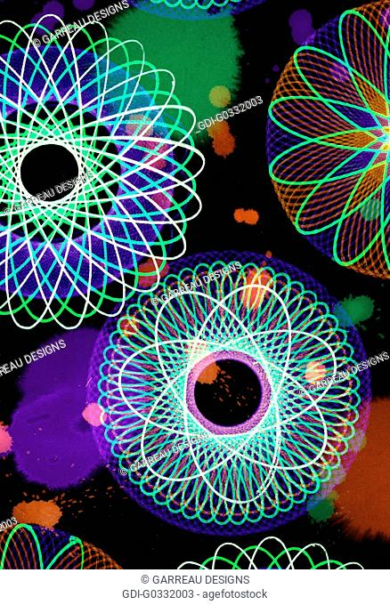 Colorful ornate scrolled circle design on black background