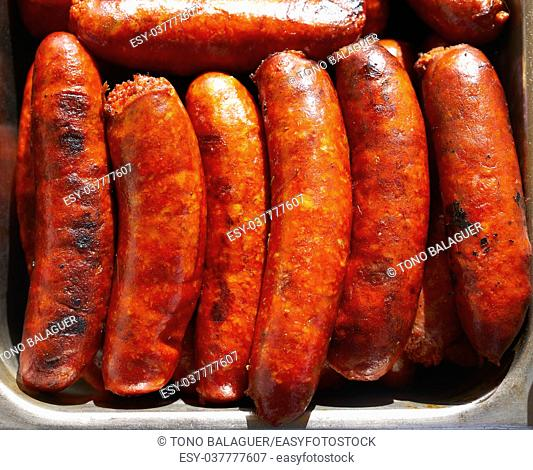 Chorizo sausage barbecue cooked in Mexico