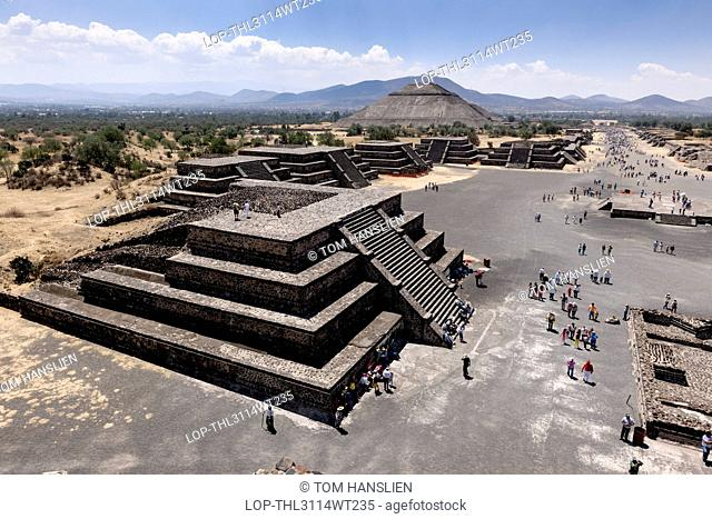 Mexico, Federal District, Mexico City. View from the Pyramid of the Moon at Teotihuacan in Mexico City