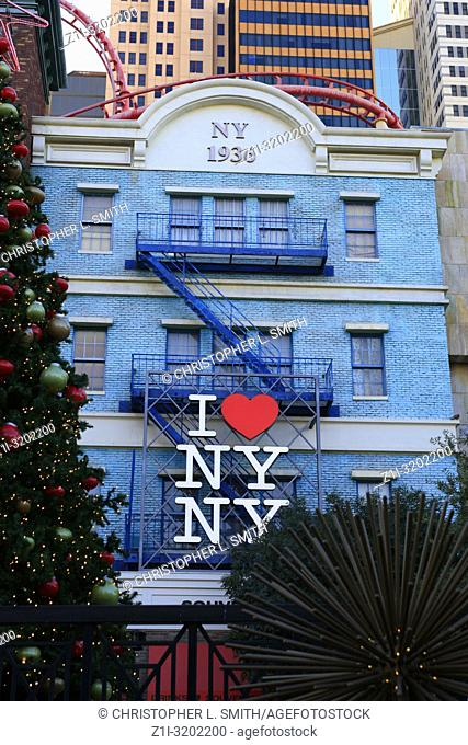 I Love New York logo on the front of a building in New York New York Las Vegas, Nevada