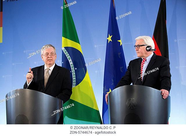 Berlin, Germany. Mars 21th, 2014. German Foreign Minister Steinmeier meets the Brazilian Foreign Minister Luiz Alberto Figueiredo