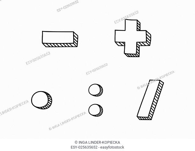 plus,minus,multiplication and division hand drawn vector icon isolated on white background\n