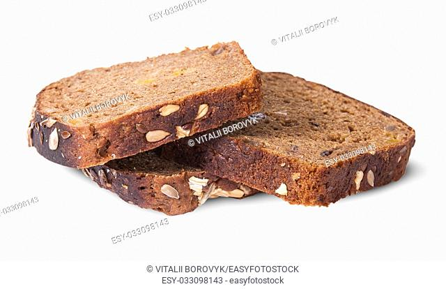 Several pieces of unleavened bread with seeds isolated on white background