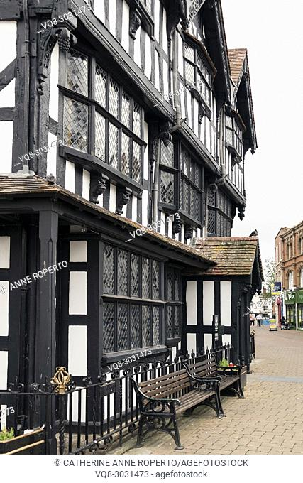 Black and white Tudor style timber framed old museum with leaden windows and sentinel pigeon in the market square of Hereford, England