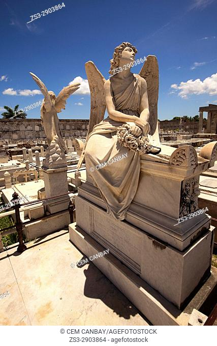 Tombs and statues at the cemetery La Reina, Cienfuegos, Cienfuegos Province, Cuba, West Indies, Central America