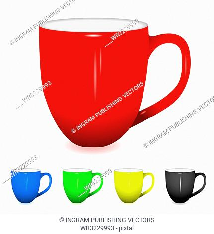 coffee cup with shadow and five colour variations