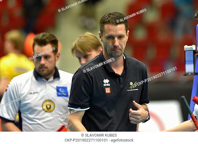 Jiri Novak, coach of Karlovarsko, is seen during the 6th round group B of volleyball Champions League match Karlovarsko vs Modena in Karlovy Vary
