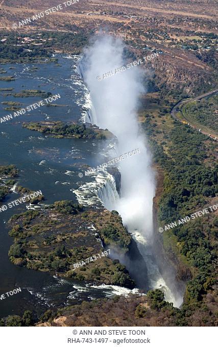 Victoria Falls, aerial view, UNESCO World Heritage Site, Zimbabwe, Africa