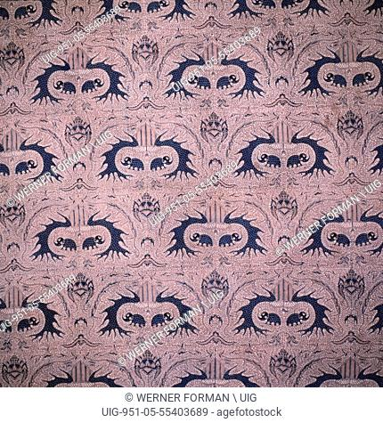 Detail of a batik kain panjang, a cloth worn about the hips, with a design incorporating the royal emblem of Surakarta