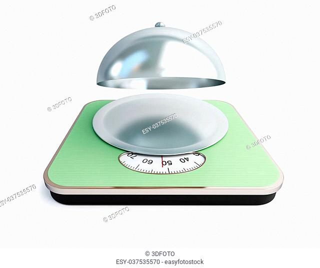 bathroom scale open tray on a white background