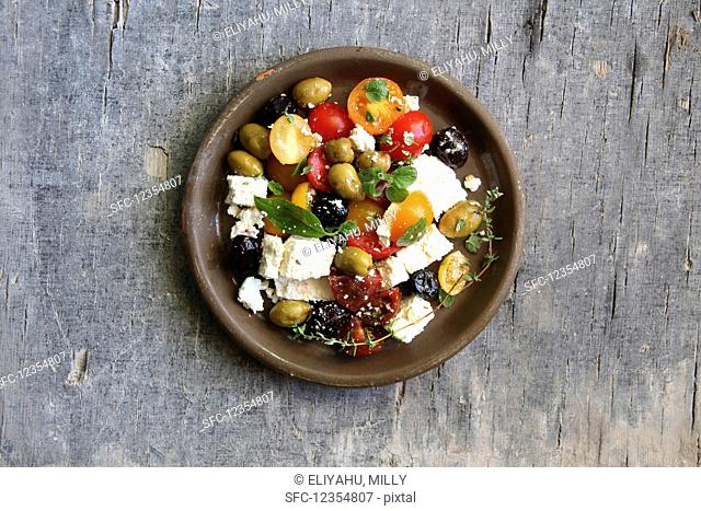 Greek salad with olives and feta cheese