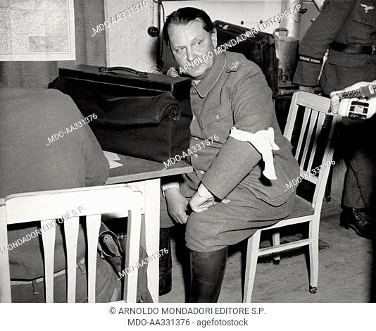 Hermann Goering captured and deprived of his medals. During the interrogation after the capture, marshal Hermann Goering's uniform is deprived of medals and...