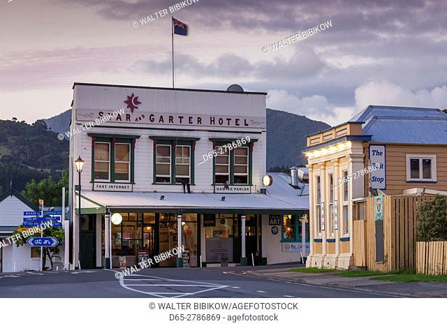 New Zealand, North Island, Coromandel Peninsula, Coromandel Town, Star and Garter Hotel and Assay House, dusk