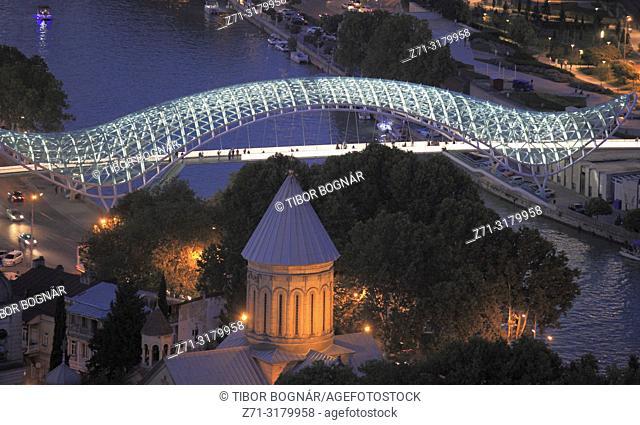 Georgia, Tbilisi, Peace Bridge, Sioni Cathedral, Mtkvari River,