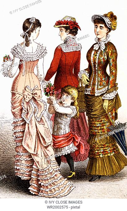 The women pictured here represent German fashions during the years 1834 to 1881. The illustration dates to 1882