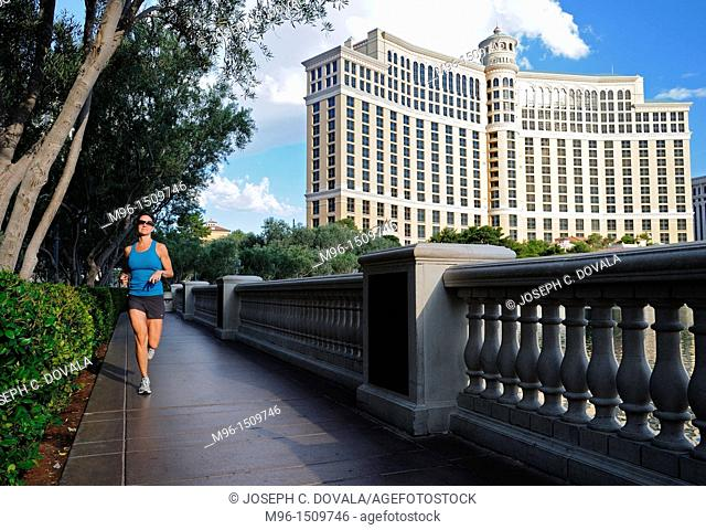 Woman out for early morning jog in Las Vegas, Nevada, USA