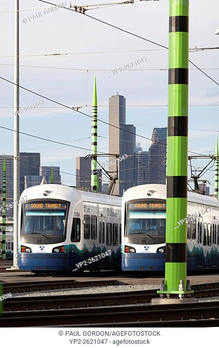 Seattle, Washington: Cars lined up at Sound Transit's Link Light Rail Operations & Maintenance Facility. Inspired by horsetail plants