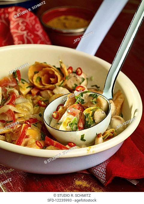 Curry and coconut chicken with vegetables