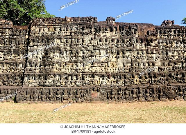 Relief of deities on the terrace of the Leper King, Angkor Thom, Angkor, UNESCO World Heritage Site, Siem Reap, Cambodia, Southeast Asia, Asia