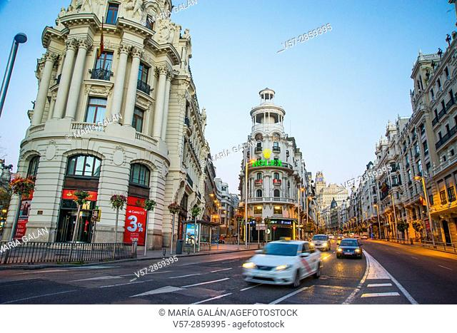 Gran Via street at dawn. Madrid, Spain