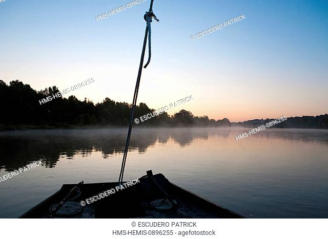 France, Loir et Cher, Loire Valley, listed as World Heritage by UNESCO, Chaumont sur Loire, sunrise on the Loire river from a Toue (flat boat)