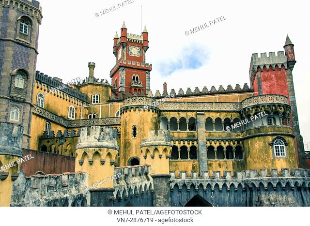 Pena National Palace, Sintra, Lisbon, Portugal. The palace is situated in the eastern part of the Park of Pena, and is the second highest point on the Sintra...
