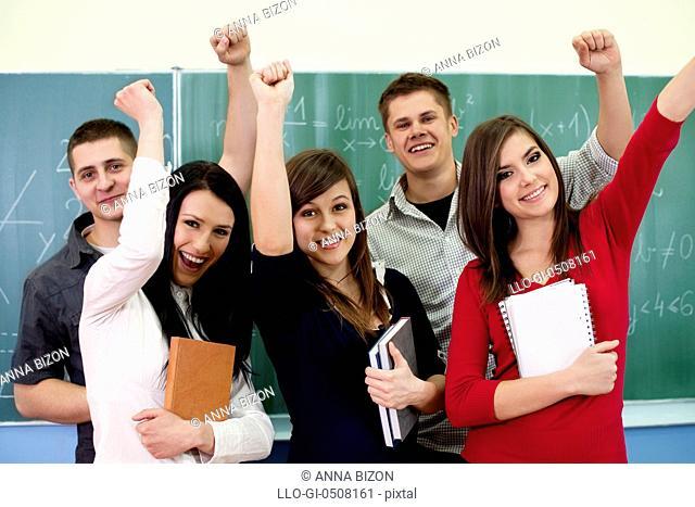 Successful smiling students Debica, Poland