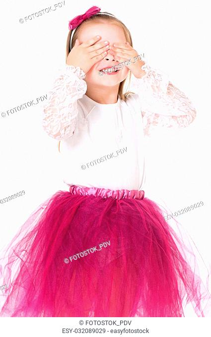 See no evil - portrait of girl isolated on white background