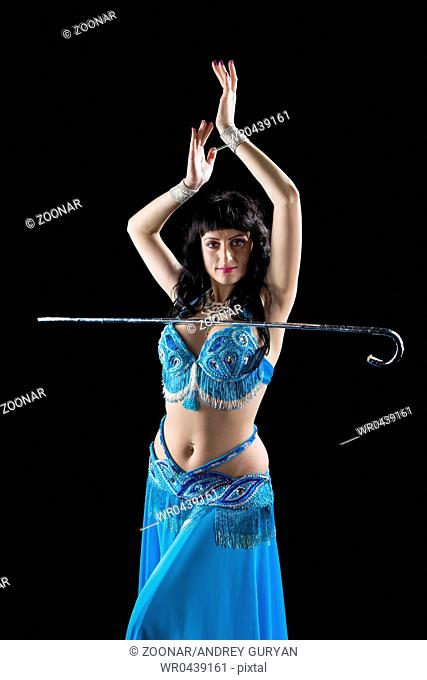 woman in blue dance with cane