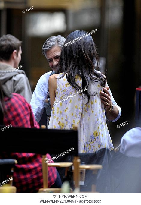 Amal Clooney visits her husband George Clooney on the set of 'Money Monsters' Featuring: Amal Clooney, George Clooney Where: Manhattan, New York