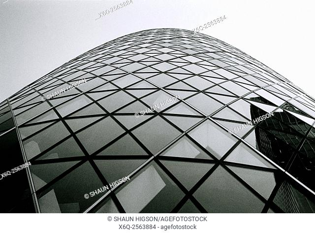 The Gherkin, or 30 St Mary Axe, in the City of London in England in the United Kingdom