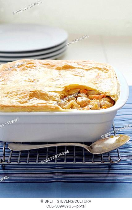 Baked chicken and vegetable pie