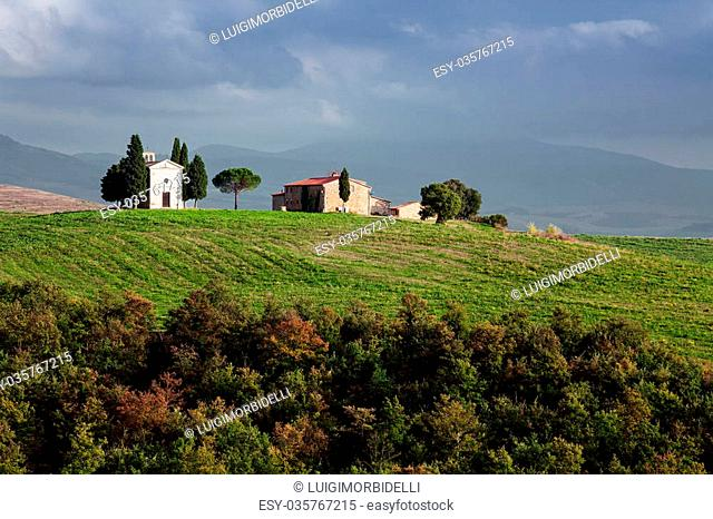 Little chapel in the beautiluf landscape of Tuscany