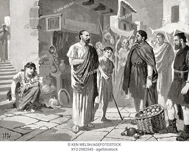 Roman colonizers trading with the native Dacians, c. 105 AD. After the painting by J. H. Valda, d. 1941. From Hutchinson's History of the Nations