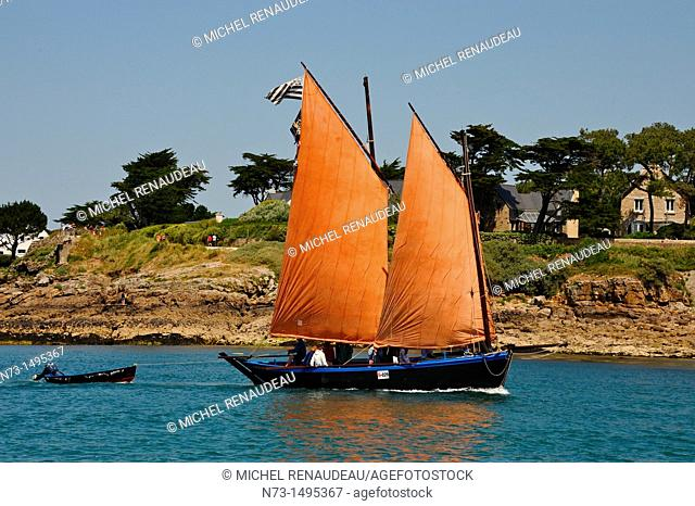 France, Morbihan 56, The Gulf of Morbihan Gulf during the week of May 30 to June 5, 2011, the work boats, the Sinagot