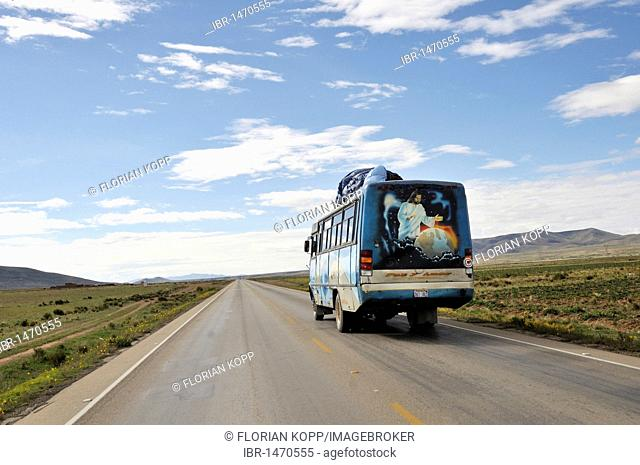 Bus with a religious picture, Jesus as Lord of the world, Bolivian Altiplano highlands, Departamento Oruro, Bolivia, South America