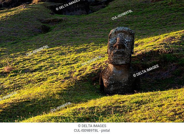 Rano Raraku moai statue on Easter Island