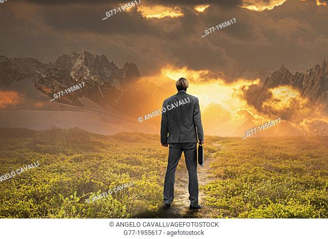 Businessman watching sunset in a mountain range