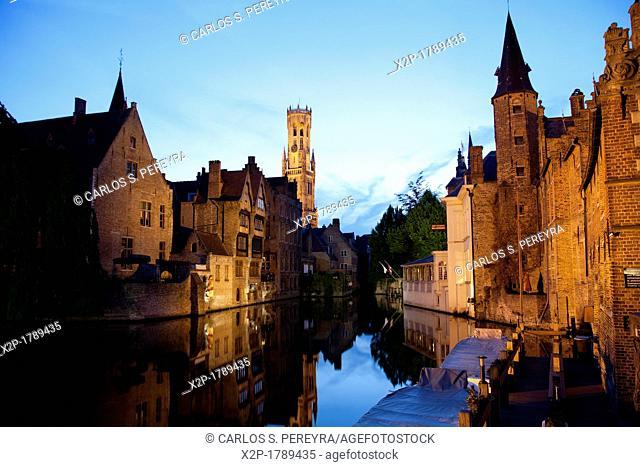 Rozenhoedkaai Quay of the rosary with Belfort tower, Bruges, Brugge, Flanders, Belgium, UNESCO World Heritage Site