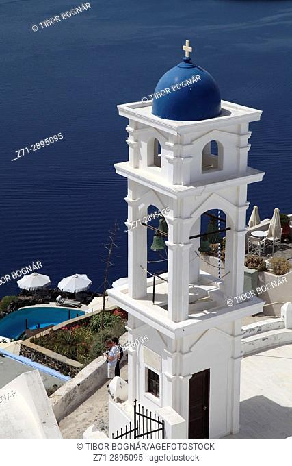 Greece, Cyclades, Santorini, Imerovigli, Anastasi Church, bell tower