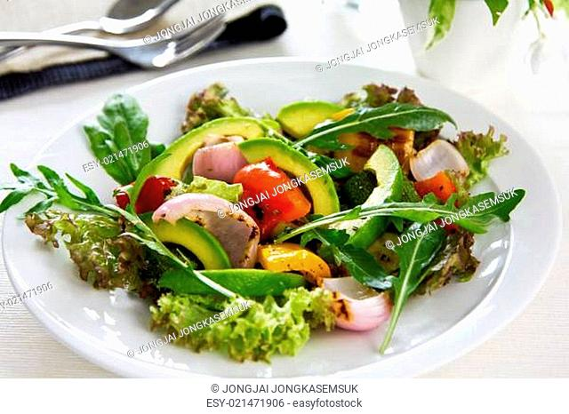 Avocado with Grilled vegetables salad