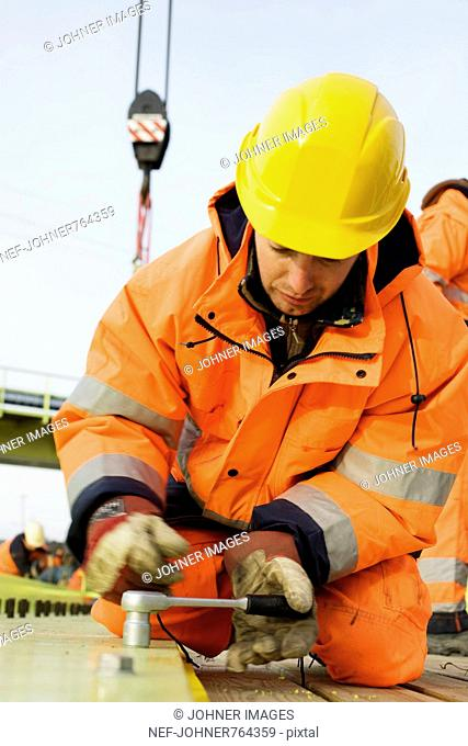 Construction worker on a construction site, Sweden