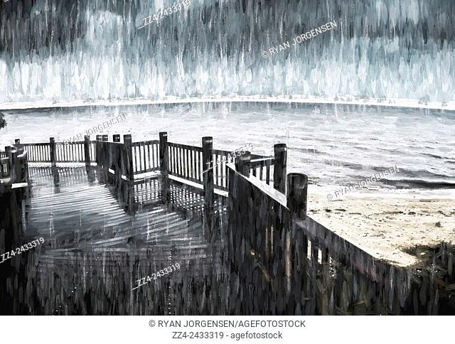 Modern Impressionism digital oil painting of a serene beach jetty at twilight amidst a fall of rain. Spit in the rain