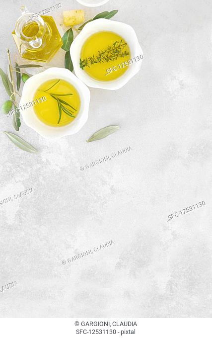 Olive oil with salt and gree olive