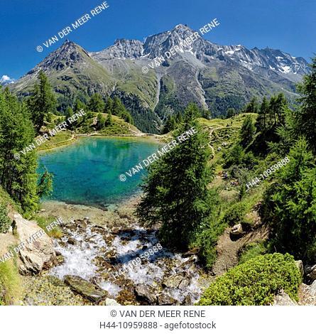 Lac Bleu, lake, landscape, water, summer, mountains, hills, La Gouille, Val d'Herens, Wallis, Valais, Switzerland, Europe
