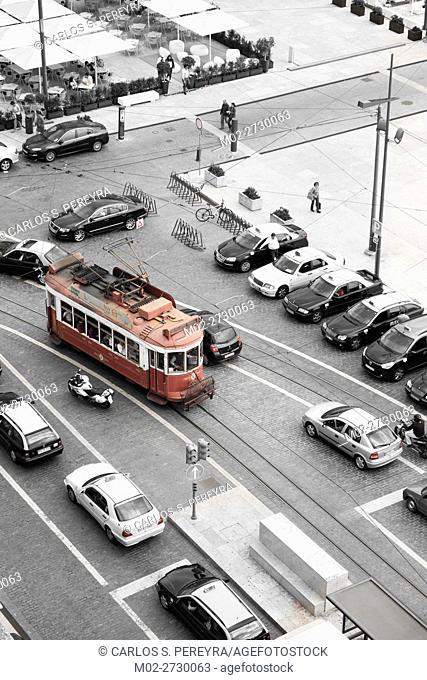 Touristic tram in Commerce Square in Lisbon Portugal